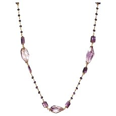 Ametrine Nugget, Amethyst and Jade (dyed) Necklace