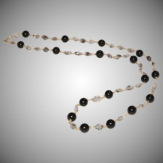 Herkimer Diamond and Black Tourmaline Long Necklace