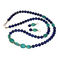 Lapis and Turquoise Necklace and Earrings