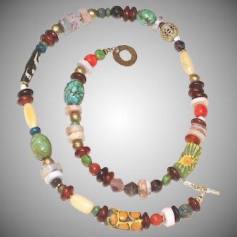 Ethnic Mix Turquoise, Gemstone and African Bead Necklace
