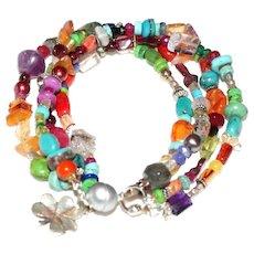 Multi Gemstone 4 Strand Bracelet.