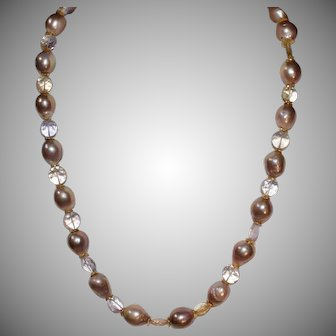 Gorgeous Pink Baroque Pearls and Faceted Ametrine Necklace