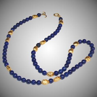 Lapis Lazuli with Brushed Vermeil Nuggets