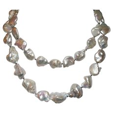 Gorgeous Gray Freshwater Baroque Pearl Necklace