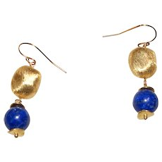 Lapis and Brushed Vermeil Earrings