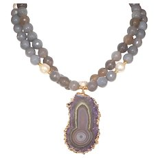 Amethyst Stalactite Pendant, Gray Quartz and Baroque Pearls Necklace