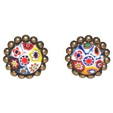 Vintage Venetian Millefiori Earrings