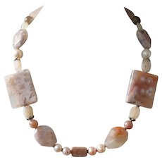Blossom Agate Statement Necklace with Moonstone, Pearls and Bali Silver