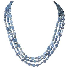 Kyanite, Denim Lapis and Blue Aventurine 3 Strand Necklace