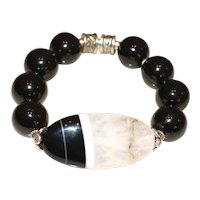Black Tourmaline and Black and White Agate Bracelet