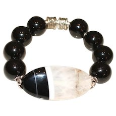 Black Tourmaline and Black and White Agate Bracelet