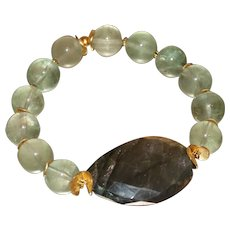 Green Fluorite with Labradorite Bracelet