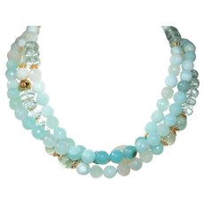 Shades of Aqua Triple Strand Necklace