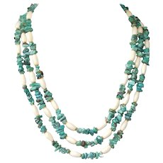Turquoise and Bone Three Strand Necklace