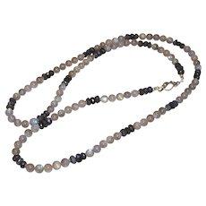 Long Gray Labradorite Necklace
