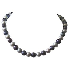 Classic Peacock and Gray Pearl Necklace with Sterling Silver