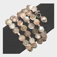 Moonstone and Silver Wrap Bracelet