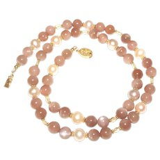Stunning Sunstone and Pearl Necklace with Citrine