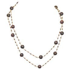 Long Layering Necklace with Stunning Peacock Pearls and Golden Pyrite