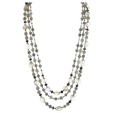 Labradorite, Moonstone, Hematite and Citrine Three Strand Necklace