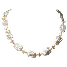Large Freshwater Biwa Pearl Necklace with Citrine and Sterling Silver