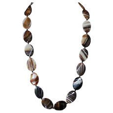Brazilian Striped Agate and Sterling Silver Necklace
