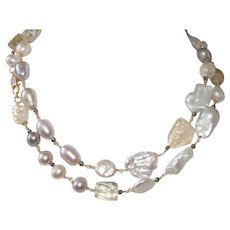 Mixed Pearl and Citrine Necklace