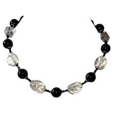 Black Tourmaline and Quartz Crystal Short Necklace
