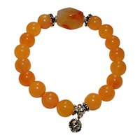 Sunset Yellow Glass and Bali Silver Bracelet with Carnelian Nugget and Sterling Silver Sun Charm
