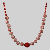 Chinese Porcelain Necklace with Sponge Coral and Bone