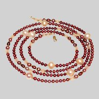 Long Burgundy and Peach Pearl Necklace
