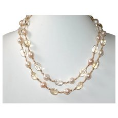 Baroque Pearl and Quartz Nugget Necklace