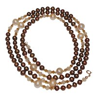 Long Pearl Necklace of Chocolate and Light Peach Cultured Freshwater Pearls