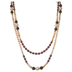Freshwater Pearl and Garnet Double Strand Necklace