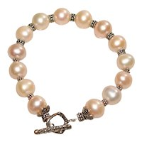Champagne Baroque Pearl Bracelet with Bali Silver