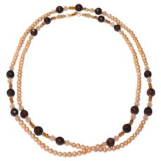 Champagne Freshwater Pearl and Garnet Long Necklace