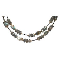 Labradorite and Abalone with Hematite Necklace
