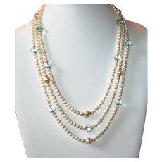 Beautiful Triple Strand Pearl Necklace with Aqua Aura Quartz