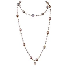 Amethyst and Pearl Long Layering Necklace with Ametrine Gemstones
