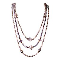 Lavender Cultured Freshwater Pearls and Amethyst Three-Strand Necklace