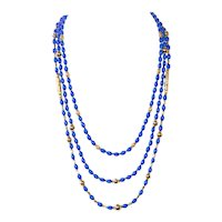 Vintage Blue and Gold Bead 3 Strand Necklace