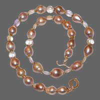 Pink Freshwater Baroque Pearls and Faceted Ametrine Necklace