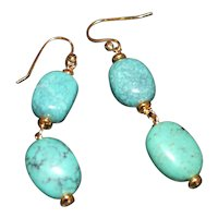 Chinese Dragon Skin and Arizona Turquoise Nugget Earrings