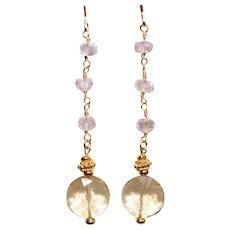 Ametrine and Lavender Amethyst Dangle Earrings