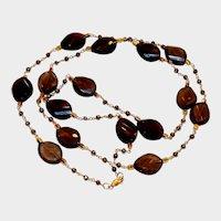 Smokey Quartz and Golden Pyrite Necklace