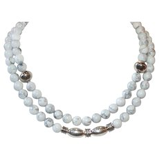 Natural White Howlite Double Strand  Necklace