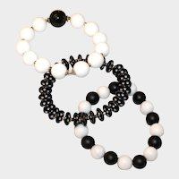 Trio of Black and White Bracelets