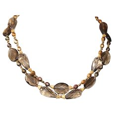 Smokey Quartz Necklace with Picasso Finished Czech Glass and Vermeil Accents