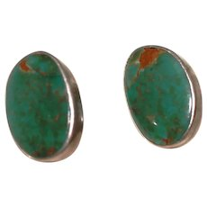 Native American Green Turquoise and Sterling Silver Earrings