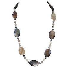 Brazilian Agate, Gray Agate and Labradorite Necklace